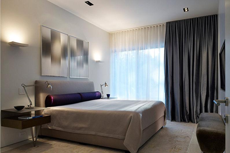 Белая спальня в стиле минимализм - Дизайн интерьера