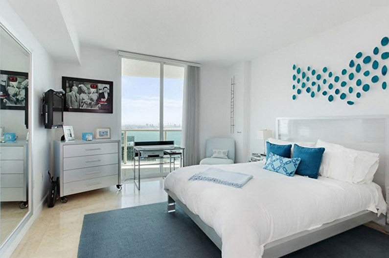Синяя спальня в стиле минимализм - Дизайн интерьера