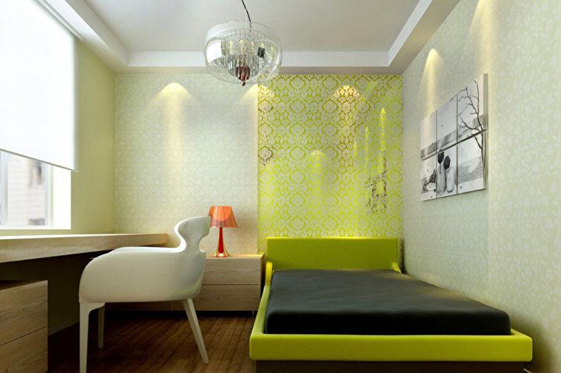 Зеленая спальня в стиле минимализм - Дизайн интерьера