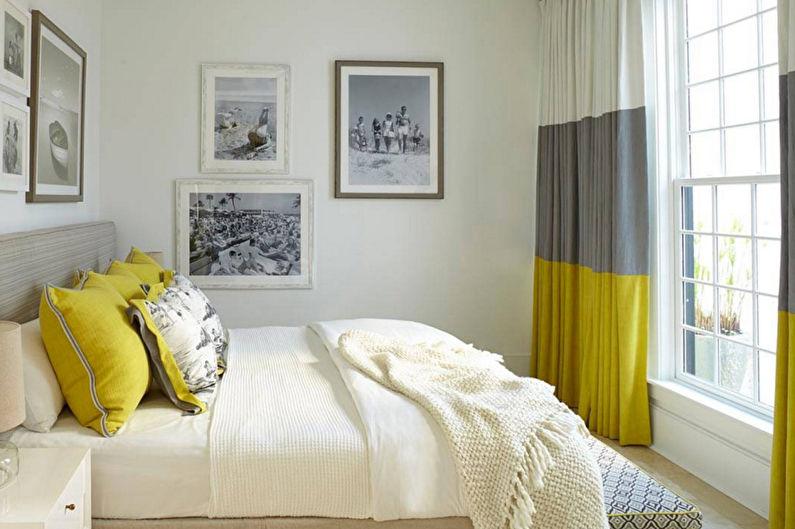 Желтая спальня в стиле минимализм - Дизайн интерьера