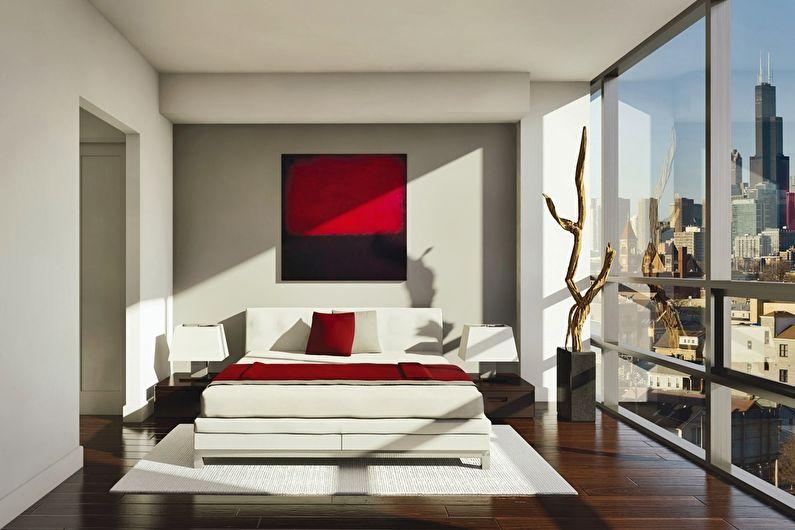 Красная спальня в стиле минимализм - Дизайн интерьера
