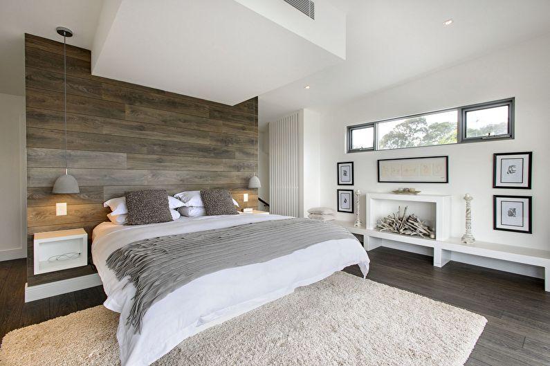 Дизайн спальни в стиле минимализм - Отделка стен