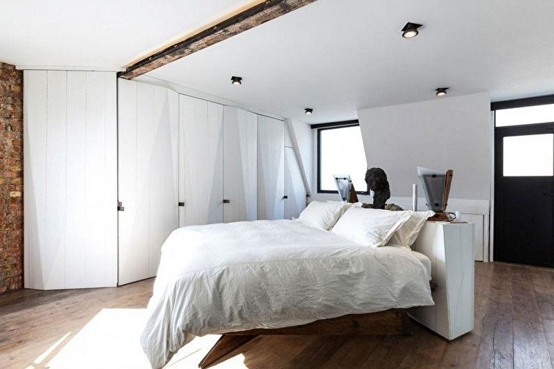 Дизайн спальни в стиле минимализм - Отделка потолка
