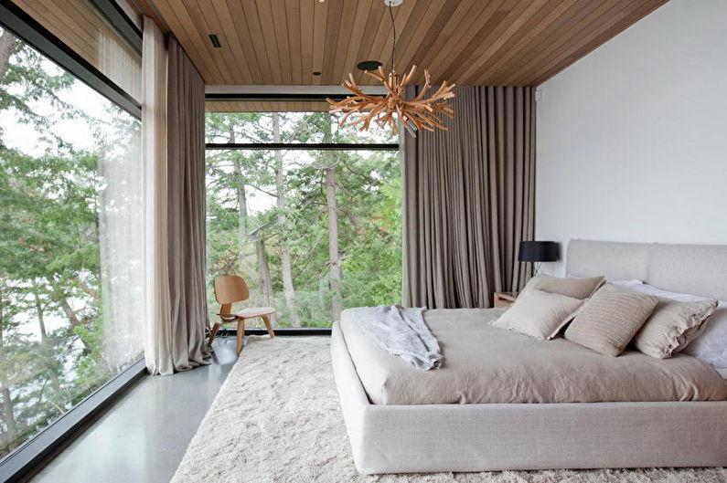 Дизайн спальни в стиле минимализм - Декор и текстиль