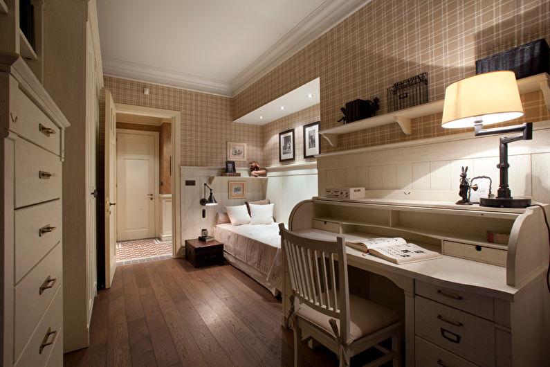 Дизайн узкой спальни - Отделка пола