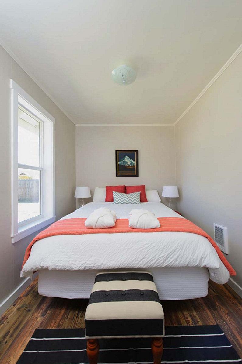 Дизайн узкой спальни - Отделка потолка
