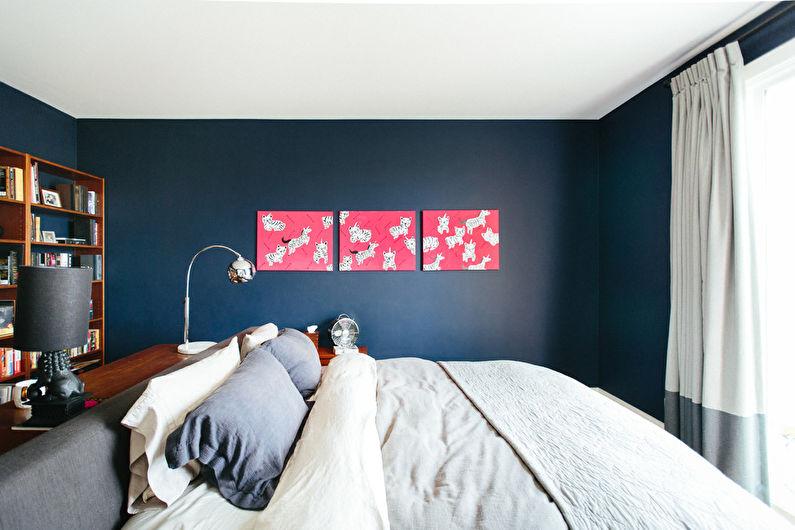 Дизайн интерьера узкой спальни - фото
