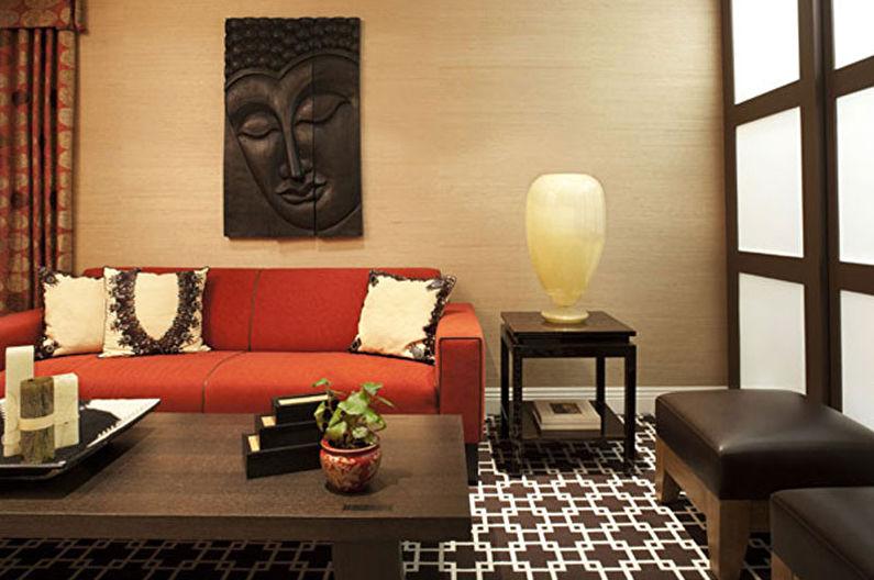Гостиная 17 кв.м. в этническом стиле - Дизайн интерьера