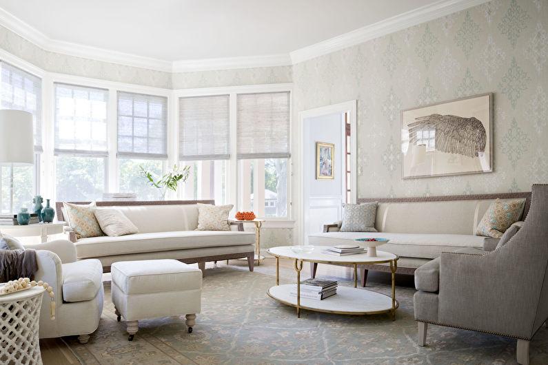 Белая гостиная 17 кв.м. - Дизайн интерьера