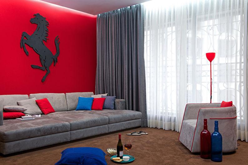 Красная гостиная 17 кв.м. - Дизайн интерьера