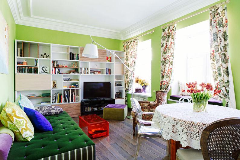 Зеленая гостиная 17 кв.м. - Дизайн интерьера