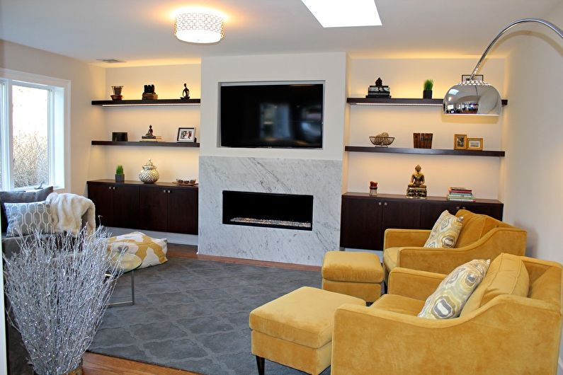Желтая гостиная 17 кв.м. - Дизайн интерьера