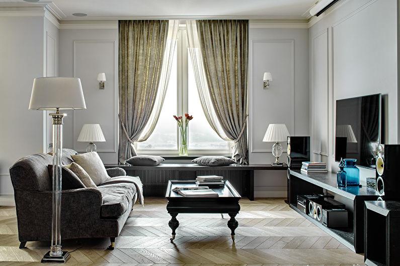 Серая гостиная 17 кв.м. - Дизайн интерьера