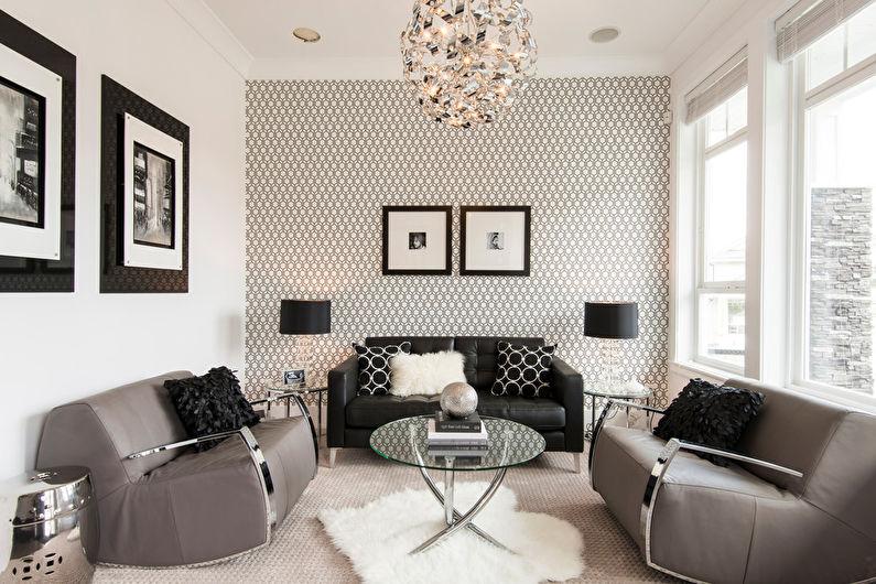 Дизайн гостиной 17 кв.м. - Отделка стен