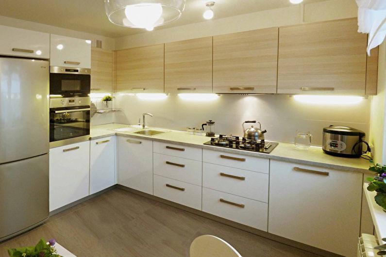 Дизайн угловой кухни - С рабочей поверхностью