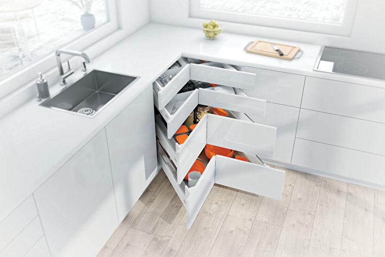 Дизайн угловой кухни - Места хранения в углу