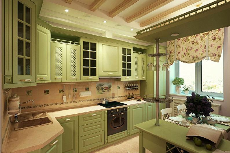 Угловая кухня в стиле прованс - Дизайн интерьера