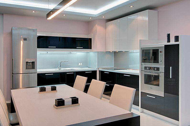 Угловая кухня в стиле хай-тек - Дизайн интерьера