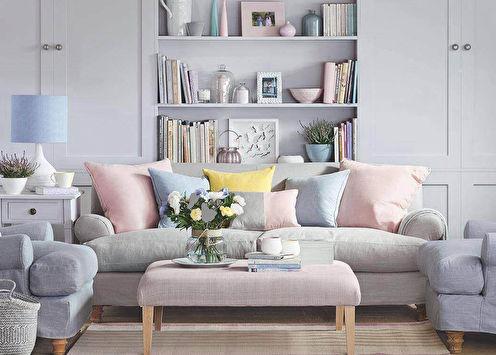 Цветовые сочетания: пол, стены, потолок, мебель