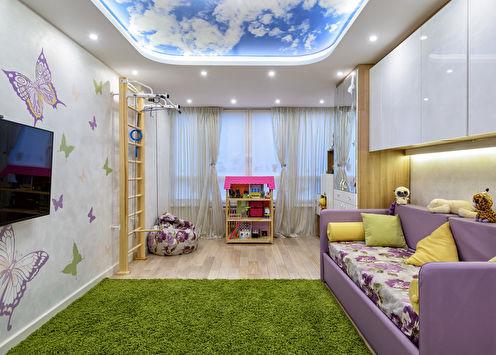 Натяжной потолок в детской комнате (65 фото)