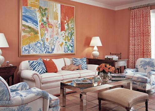 Персиковый цвет в интерьере (100 фото)