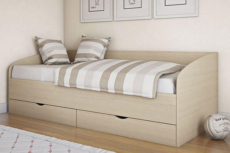 Виды односпальных кроватей - Односпальная кровать с ящиками