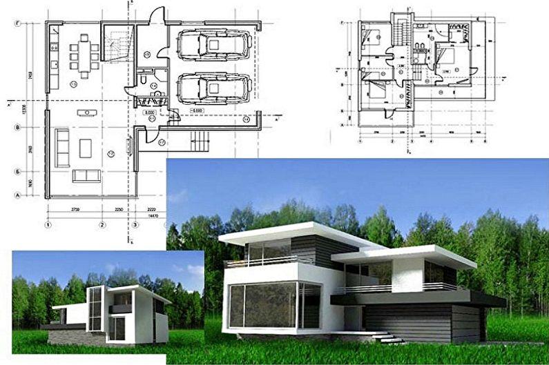 Современные проекты домов в стиле хай-тек - Двухэтажный коттедж с гаражом