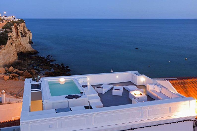 Современные проекты домов в стиле хай-тек - Дом в стиле хай-тек с эксплуатируемой крышей