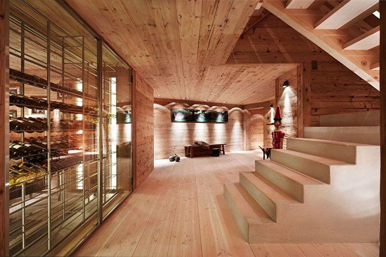 Современные проекты домов в стиле шале - Одноэтажный дом с мансардой и подвалом