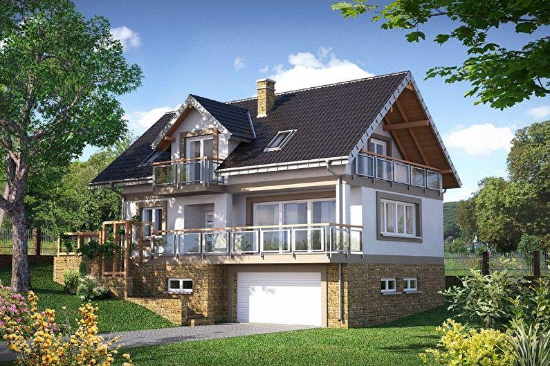 Современные проекты домов в стиле шале - Дом в стиле шале с гаражом