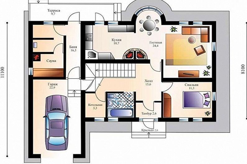 Современные проекты домов в стиле шале - Коттедж с сауной