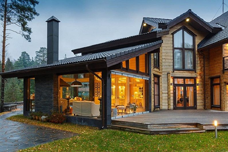 Современные проекты домов в стиле шале - Дом шале с большой верандой