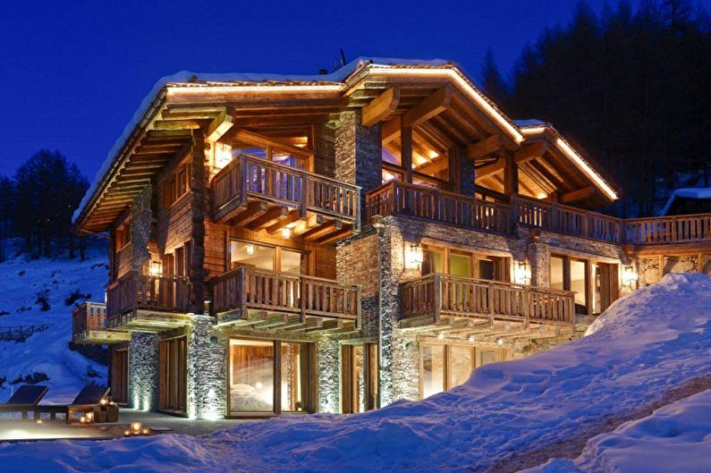 Современные проекты домов в стиле шале - Дом в стиле шале на склоне