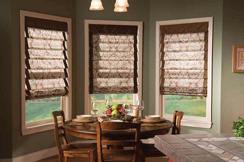 Виды занавесок на кухню - Римские шторы