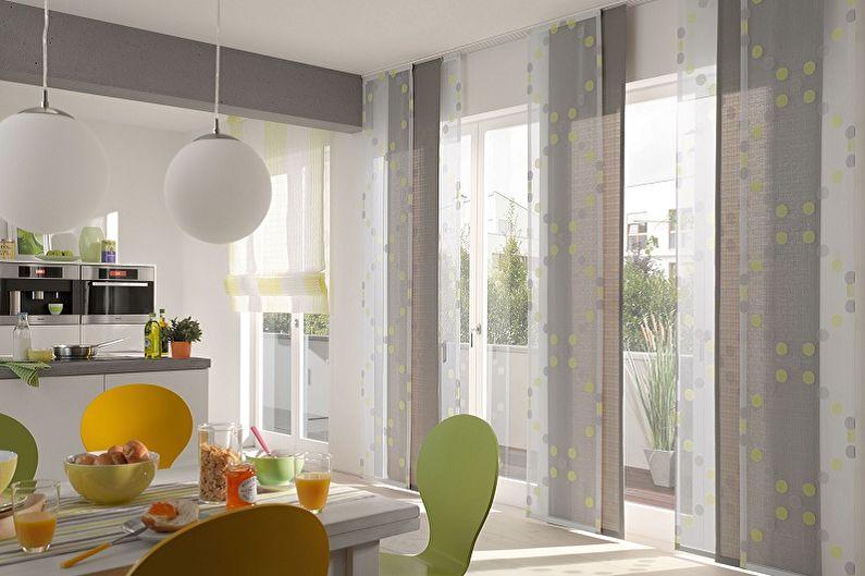 Виды занавесок на кухню - Японские панельные шторы