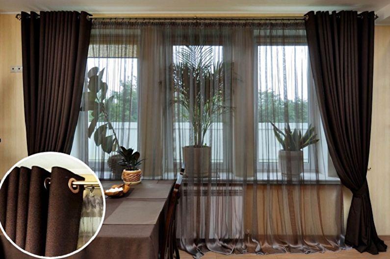 Виды занавесок на кухню - Тканевые занавески на люверсах