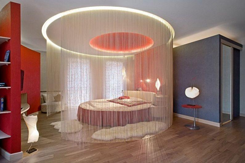 Круглая кровать в спальне - Особенности