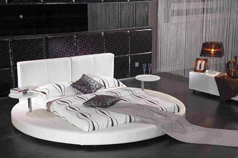 Виды круглых кроватей в спальню - Прямоугольная кровать на круглом подиуме