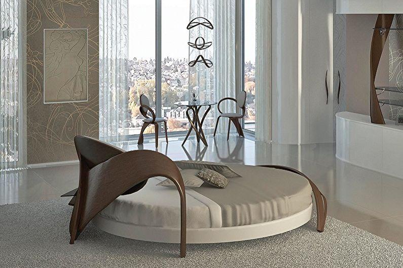 Круглая кровать в спальню в разных стилях - Модерн