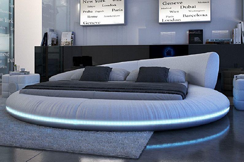 Круглая кровать в спальню в разных стилях - Техно, хай-тек