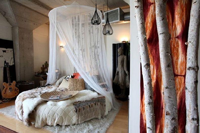 Круглая кровать в спальню в разных стилях - Скандинавский стиль