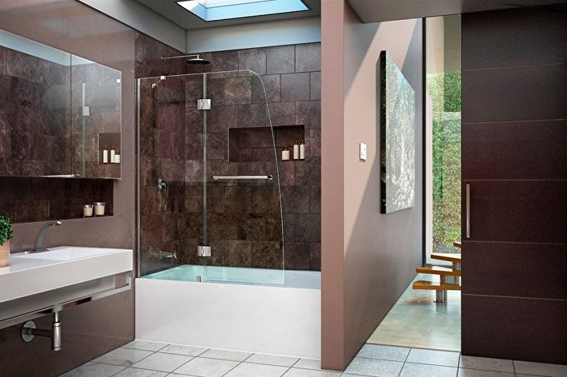 Виды стеклянных шторок для ванной комнаты - Распашные шторки