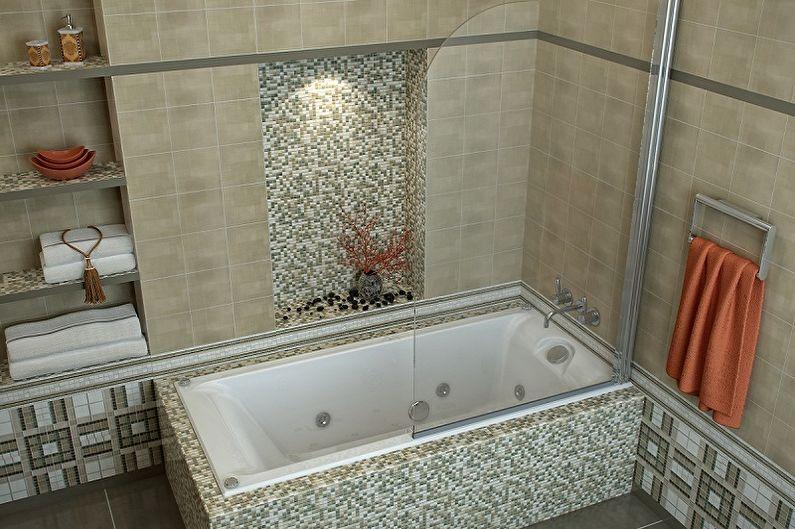 Виды стеклянных шторок для ванной комнаты - Статичные шторки