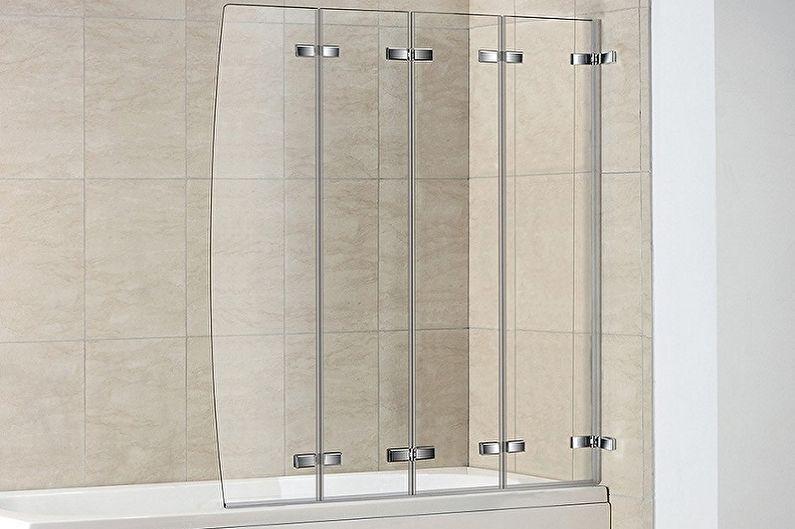 Виды стеклянных шторок для ванной комнаты - Раскладные шторки