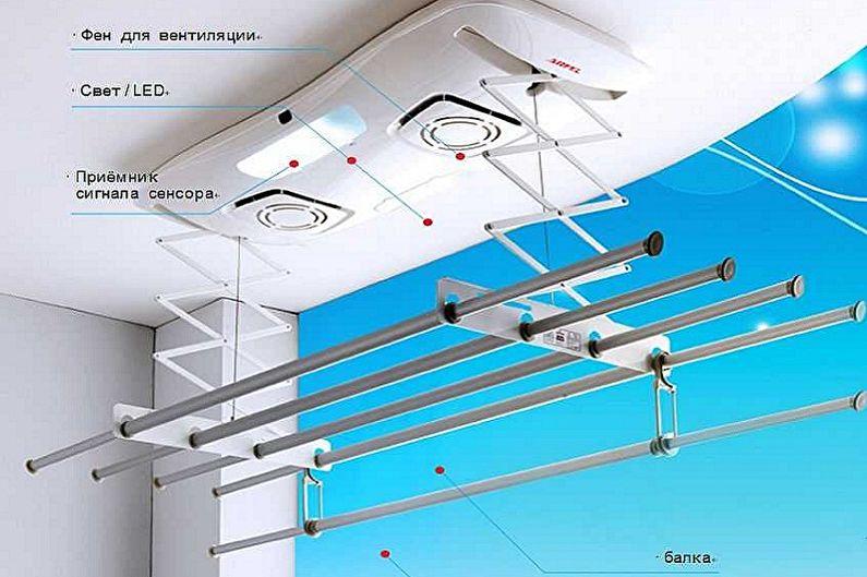 Конструкции потолочных сушилок для белья - Электросушилки для белья
