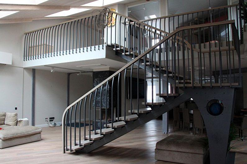 Дизайн перил для лестниц - Лофт