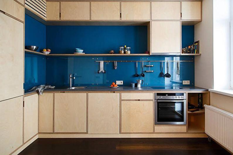 Синие стеновые панели для кухни