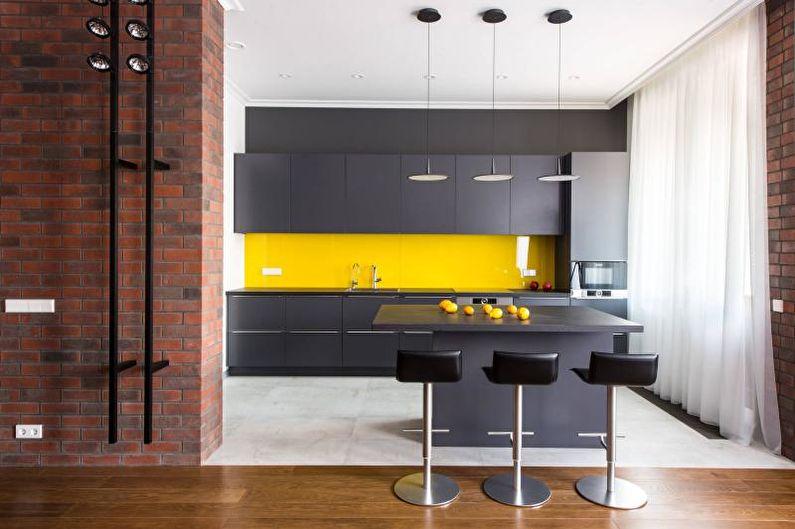 Желтые стеновые панели для кухни