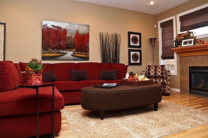 С какими цветами сочетается красный - Дизайн гостиной