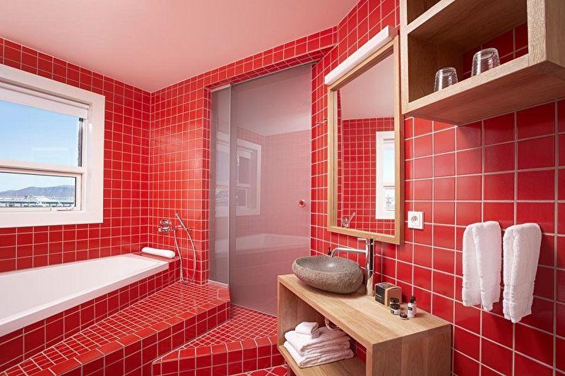 С какими цветами сочетается красный - Дизайн ванной комнаты